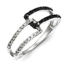 Black Diamond   Sterling Silver 1/3 Carat Black White Diamond ...   Black and withe