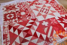 Piece N Quilt: Modern Building Blocks - Red & White Version by Sherri of A Quilting Life - Custom Machine Quilting by Natalia Bonner.  Absolutely beautiful.  @modafabrics