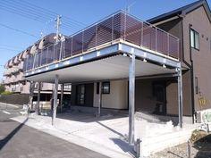 屋上デッキ仕様カーポート [ボードウォークガレージ] - 愛知県 K様 大きなボードウォークガレージ完成しまいした! | 五十嵐工業株式会社