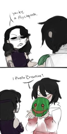 Source by Source by Related posts:Im happy even if I dont show it.jeff the killer x jane the killer 🔪 X 💗 ( Terminé)Eu não sei oq que deu na. Creepy Pasta Funny, Creepy Pasta Family, Creepypasta Girls, Creepypasta Slenderman, Jeff The Killer, Creepy Art, Horror Stories, Scary Stories, Funny Comics