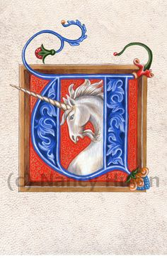 Medieval Illuminated Letter U    This is an archival 4 x 6 print of my original artwork, painted in acrylics on goatskin parchment. It shows a