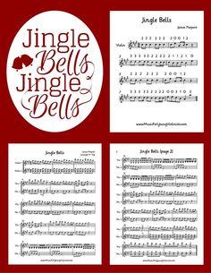 FREE VIOLIN MUSIC DOWNLOADS www.musicforyoungviolinists.com/blog/jingle-bells-large-print-duet #ViolinMusic, #FreeSheetMusic, #FreeViolinMusic