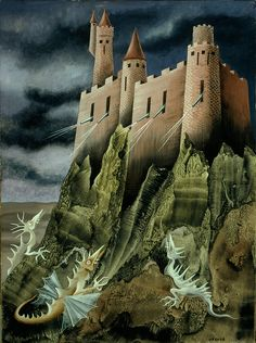 """""""Remedios Varo emigrated to Mexico after Spanish Civil War. This surrealist painter had an understandable thing for castles. Art Beauté, Chicano Art, Art Database, Max Ernst, Surreal Art, Dark Art, Les Oeuvres, Caricature, Art History"""