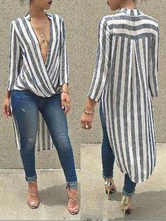 White and Black Striped Longsleeve Tall Blouse Trend Fashion, Moda Fashion, Womens Fashion, Mode Outfits, Casual Outfits, Casual Wear, Chiffon, Blouse Outfit, Mode Inspiration