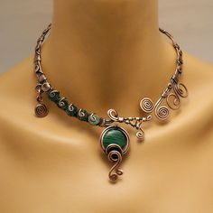 Statement Malachite Necklace, Open necklace, Copper Necklace For Women, Green Stone Necklace, Copper Jewelry, Malachite Choker Necklace Copper Necklace, Copper Jewelry, Stone Necklace, Wire Jewelry, Gemstone Jewelry, Handmade Jewelry, Healing Bracelets, Green Stone, Malachite
