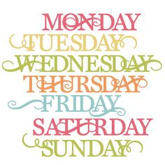 Days Of The Week SVG cut files for scrapbooking cardmaking week days svg files free svgs