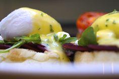 BEET BENNY - Braised Beets, Feta Cheese, English Muffin, Arugula, Lemon Herb Hollandaise, Poached Eggs