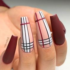 Burgundy matte nails work both for short and long nails. Use the given ideas for your wonderful total look. Plaid Nails, Striped Nails, Swag Nails, Grunge Nails, Striped Nail Designs, Cute Acrylic Nail Designs, Brown Nail Designs, Matte Nail Designs, Burgundy Nail Designs