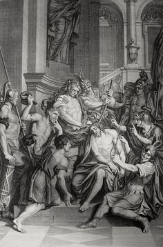 Christ's earthly ministry in the Phillip Medhurst Bible 393 of 550 Jesus is mocked by the soldiery Matthew 27:29-30 Picart on Flickr. A print from the Phillip Medhurst Collection at St. George's Court, Kidderminster.