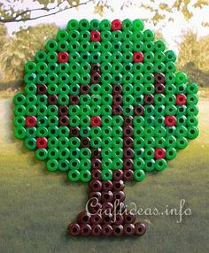 Spring Crafts for Kids - Fuse Beads or Perler Beads Apple Tree Craft