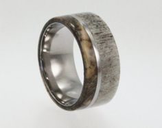 Deer Antler Ring, Wide Titanium Band, Buckeye Burl Wood, Hunter Ring, Ring Armor Included