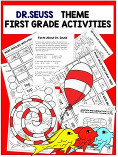 Dr. Seuss  First Grade  Activities with Reading Comprehension PassageThis product contains FUN and ENGAGING worksheets with a Dr. Seuss theme that is designed for first grade students. Activities Included:*Reading Comprehensive Passages about Dr. Seuss*Red Fish, Blue Fish addition and subtraction digits 1-20 Place Values with  Lorax Trees (Cut and Paste)*Word Families with MUGS (Cut and Paste)*Word Families with Fish (Cut and Paste)*Word Trace Activity with coloring*Addition and Subtraction…