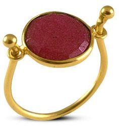 Δαχτυλίδι από επιχρυσωμένο ασήμι 925 με γνήσιο ρουμπίνι Heart Ring, Gemstone Rings, Gemstones, Jewelry, Jewlery, Bijoux, Schmuck, Heart Rings, Jewerly