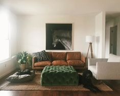 Leather Sofa - Furniture Buying And Taking Care Of Your Home Furnishings Green Ottoman, Couch With Ottoman, Ottoman Decor, Ottoman In Living Room, Boho Living Room, Tuffed Ottoman, Brown And Green Living Room, Brown Leather Couch Living Room, Brown Sofa
