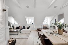 Loft living a la Stockholm, which is the communal attic converted to a home. Attic Living Rooms, Attic Spaces, Living Spaces, Attic Apartment, Dream Apartment, Attic Design, Interior Design, Pergola Ideas For Patio, Attic Renovation