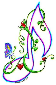 """""""Love Note"""" Tattoo Design by Denise A. Free Tattoo Designs, Notes Design, Music Notes Drawing, Music Notes Art, Art, Music Drawings, Note Tattoo, Music Tattoos, Music Art"""