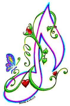Music Note & Butterflies. #music #symbols #musicnotes #musicsymbols http://www.pinterest.com/TheHitman14/music-symbols-%2B/