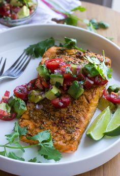 Oven Roasted Chili Lime Salmon with Avocado Salsa | Chili lime marinated salmon, roasted in the oven, then topped with fresh avocado tomato salsa. Such an easy weeknight dinner! @littlebroken
