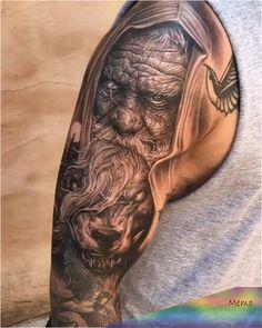 Mar 2020 - Old man Wolf shoulder tattoo by Wolf Tattoo Sleeve, Best Sleeve Tattoos, Cover Up Tattoos, Body Art Tattoos, Viking Tattoo Sleeve, Tattoo Wolf, Black Tattoos, Tribal Tattoos, Small Tattoos