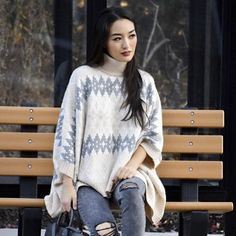 In a pinch? Wear a poncho like @sensiblestylista. It's the throw-on-and-go winter essential.  #FixObsession #regram