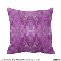 Lavender and Gray Abstract Fractal Pillow
