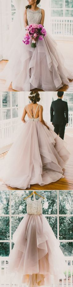 Wisteria Color Prom Dress,Prom Dress with Straps,Backless Prom Dress,Tulle Evening Dress,Scoop Neckline Prom Dress