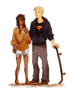 Jason would have a Superman shirt... Piper is a hipster, probably just to tick off Aphrodite.