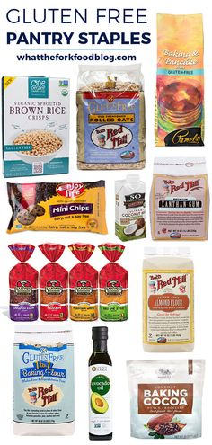 A complete and thorough list of my gluten free pantry staples to help guide in stocking your kitchen. From @whattheforkblog | whattheforkfoodblog.com | gluten free baking | gluten free cooking | gluten free ingredients | gluten free recipes