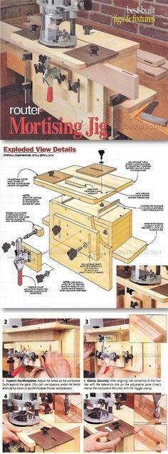 Router Mortising Jig Plans - Joinery Tips, Jigs and Techniques | WoodArchivist.com Más