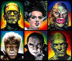 "Prints 8x10"" - Monsters - Classic - Set of 6 - Horror Dark Art Frankenstein Dracula Mummy Wolfman Vintage Spooky Halloween. $30.00, via Etsy."