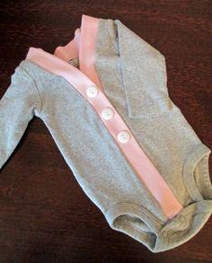 Baby Cardigan Onesuit, Gray and Pink Infant Cardigan, Baby Girl Bodysuit, Child Cardigan, Long Sleeve Cardigan, Baby Shower Gift on Wanelo
