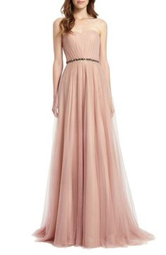 Monique Lhuillier Bridesmaids Embellished Waist Strapless Tulle Gown available at #Nordstrom