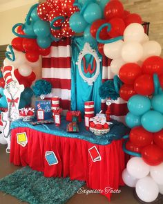 Cat in the Hat Treat Table for the Wilkersons🐱❤️ Dr Seuss Party Ideas, Dr Seuss Birthday Party, 1st Birthday Party Themes, Baby Boy Birthday, Cat Birthday, Dr Seuss Baby Shower Ideas, Birthday Ideas, Cat In The Hat Party, Babyshower