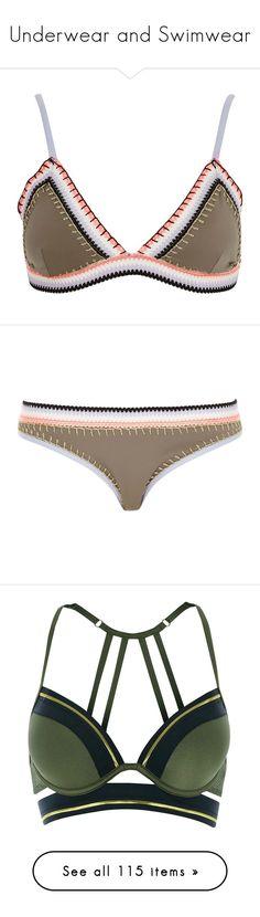 """Underwear and Swimwear"" by crazy-youngsters ❤ liked on Polyvore featuring swimwear, bikinis, bikini tops, swimsuit, khaki, swimwear / beachwear, women, swimming costume, bathing suits two piece and triangle bikinis"