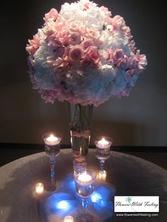 table decoration, using blue led lights