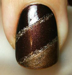 fall nail art. chocolately and shimmery