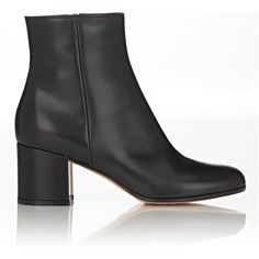 """Gianvito Rossi black smooth calfskin side-zip ankle boots styled with a rounded toe and block heel. 2.25""""/60mm heel (approximately). 5"""" shaft, 10"""" circumferenc…"""