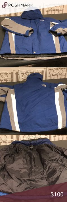 "The North Face HyVent Coat Multi function Coat. Has zippered insert that can be removed. She'll can be used as rain coat. Inside can be used as lightweight down coat and whole thing zips together for ultimate winter coat. Gently used in great condition. Has high low hem. Coat is 30"" long. 24"" wide across the chest and sleeves are 23"" long. Comes with hood that is not detachable. The North Face Jackets & Coats Puffers"