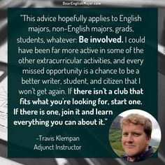 """Be involved."" Read interviews with English majors on DearEnglishMajor.com."