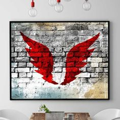 Angel Wings Wall Decor, Angel Wings Wall Art, Angel Art Print, Graffiti Poster, Inspirational Home Decor, Red Angel Wings (N540) by PointDot on Etsy