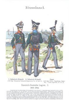 Vol 11 - Pl 07 - Rußland: Russisch-Deutsche Legion. I. Teil. 1. Infanterie-Brigade. 2. Infanterie-Brigade (1815 Kgl. Preussische Infanterie-Regimenter No. 30 und 31). Jäger (1815 Kgl. Preussisches Magdeburg. Jäger-Bataillon. - zuletzt Jäger Bataillon No. 3 und 4). 1812-14.