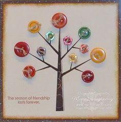 Card - autumn button tree