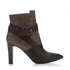 "These Balenciaga ankle boots are made from a combination of dark brown lizard and smooth leather with a pointed toe, inner side zipper, and covered 3.5"" heel. Marked size IT 38.5 (US 8.5)."