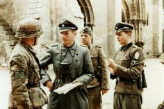 Officers of the 25th SS pz Regt in Normandy in 1944. The Regiment was part of the 12th SS Pz Division Hitlerjugend which was virtually destroyed during the ensuing battle.