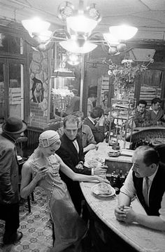 """1957, Paris, for Jardin des Modes, at """"Le Chien qui fume"""" © Frank Horvat"""