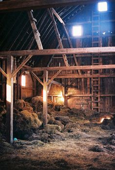 Old barns. Love this..spent many happy hours swinging from a rope into a bay of hay in granarents very old very beautiful barn, no nails, just large wooden pegs holding those huge rafters together, though time...