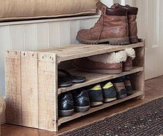 We could get one in a custom size  This shoe rack is made of 100%HT pallet wood.  Measures 24 long, 12wide 18 tall.  All boards are glued,hand nailed and screwed together.  It can