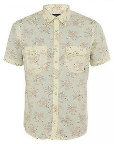Brixton Wayne Mens 115-01037-0206 Cream Short Sleeve Casual Button Shirt Size M