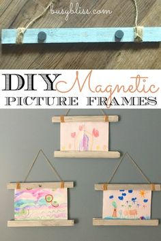 DIY Magnetic Picture Frame - Busy Bliss - These magnetic frames are so cute to hang up all my kids handmade art! Love how I can switch them o - Magnetic Picture Frames, Picture Frame Crafts, Painted Picture Frames, Hanging Picture Frames, Paint Stir Sticks, Painted Sticks, Diy For Kids, Crafts For Kids, Diy Crafts