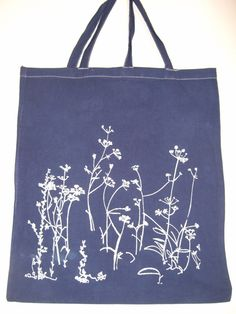 Meadow navy cotton tote bag white screen print hand dyed and hand printed bag